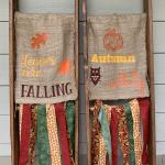 seasonal flags on ladders