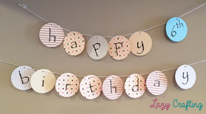 happy birthday circle banner with patterns