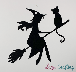 witch on broom with cat hanging decoration