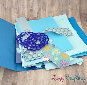 blue scrap paper in blue folder