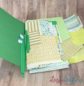 green scrap paper in green folder