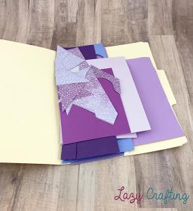 purple scrap paper in manila folder
