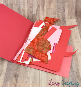 red scrap paper in red folder