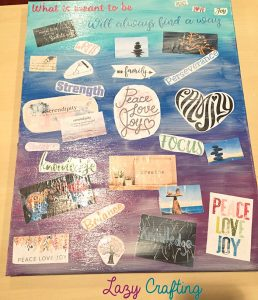 vision board final layout with mod podge