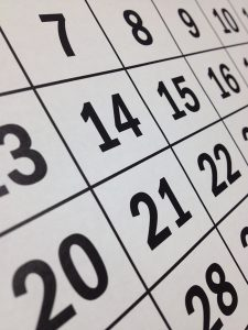 calendar numbers close up