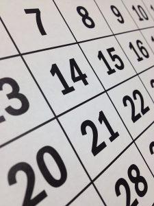 calendar numbers close up