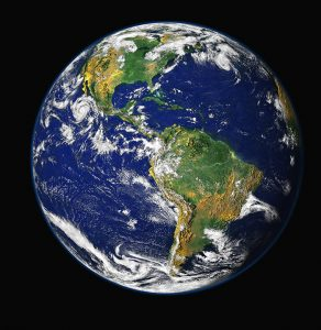 earth from space with black background