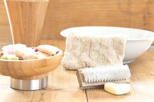 spa items including soap and towel