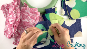 scrap fabric wreath rip fabric