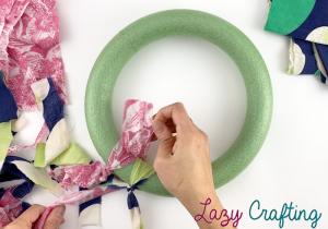 scrap fabric wreath tie fabric