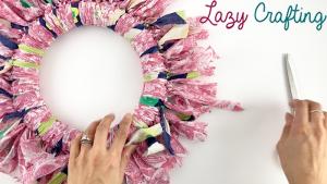 scrap fabric wreath trimming