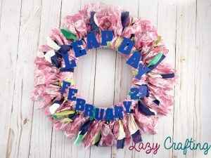 scrap fabric wreath with words