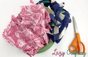 scrap fabric wreath supplies