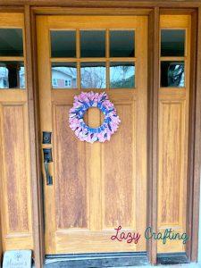 scrap fabric wreath on door